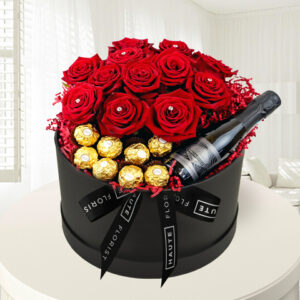 Grand Roses and Prosecco - Luxury Red Roses - Roses in a Hat Box - Luxury Valentine's Flowers - Luxury Flower Delivery